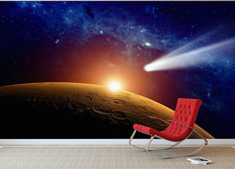Comet approaching planet Mars Wall Mural Wallpaper - Canvas Art Rocks - 1