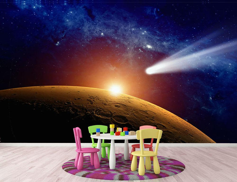 Comet approaching planet Mars Wall Mural Wallpaper - Canvas Art Rocks - 3