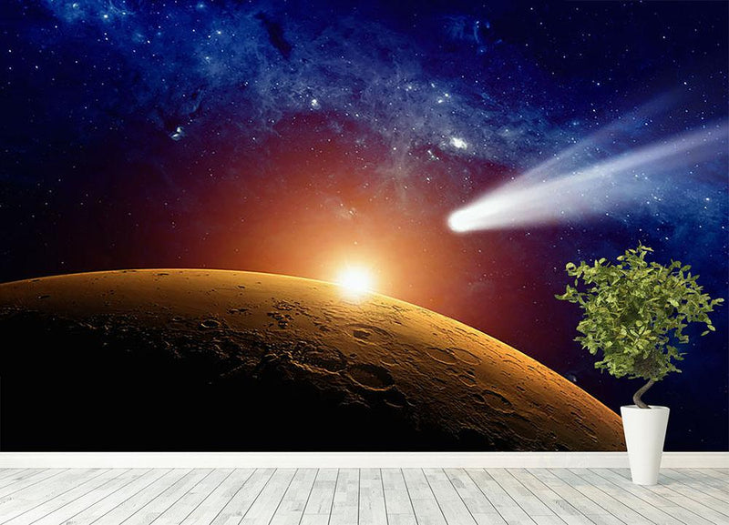 Comet approaching planet Mars Wall Mural Wallpaper - Canvas Art Rocks - 4