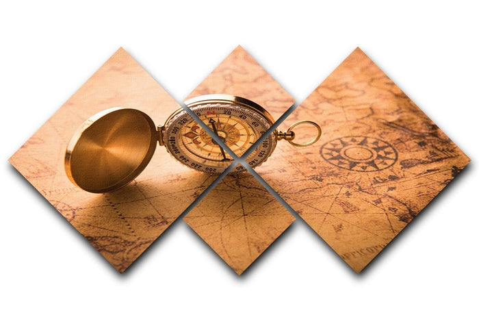 Compass on old map vintage style 4 Square Multi Panel Canvas
