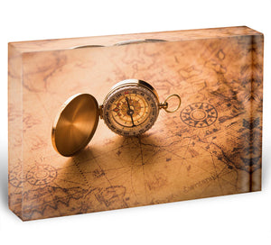 Compass on old map vintage style Acrylic Block - Canvas Art Rocks - 1