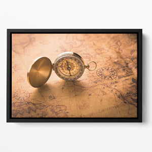 Compass on old map vintage style Floating Framed Canvas
