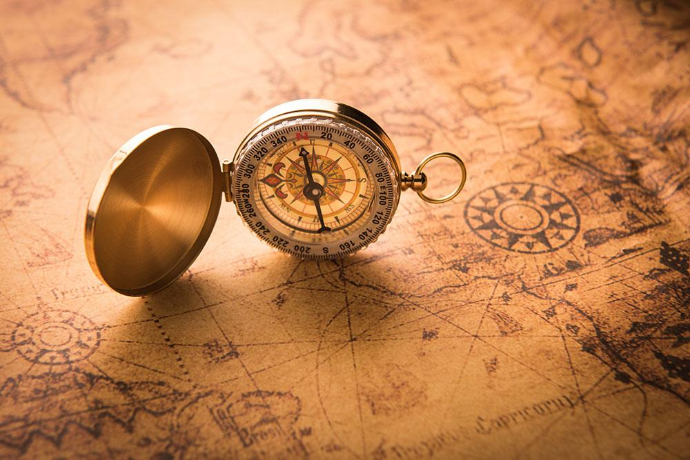 Compass On Old Map Vintage Style Wall Mural Wallpaper