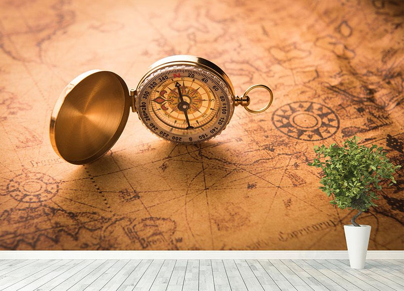 Compass on old map vintage style Wall Mural Wallpaper - Canvas Art Rocks - 4