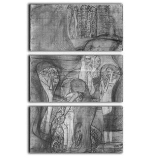 Composition draft of the law faculty image by Klimt 3 Split Panel Canvas Print - Canvas Art Rocks - 1