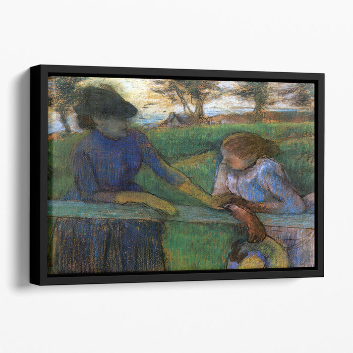 Conversation by Degas Floating Framed Canvas