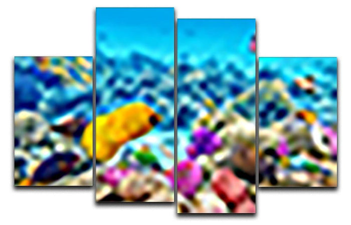 Corals and tropical fish 4 Split Panel Canvas