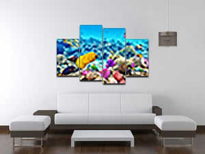 Corals and tropical fish 4 Split Panel Canvas  - Canvas Art Rocks - 3