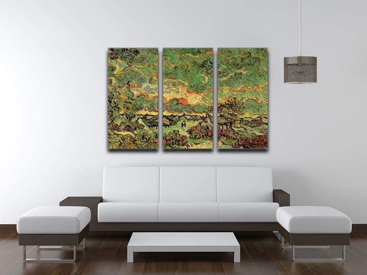 Cottages and Cypresses Reminiscence of the North by Van Gogh 3 Split Panel Canvas Print - Canvas Art Rocks - 4