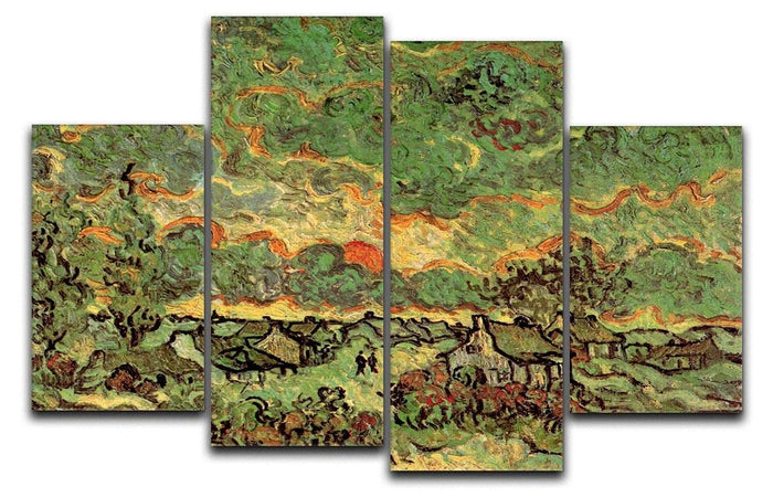 Cottages and Cypresses Reminiscence of the North by Van Gogh 4 Split Panel Canvas
