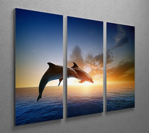 Couple jumping dolphins 3 Split Panel Canvas Print - Canvas Art Rocks - 2