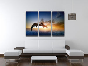 Couple jumping dolphins 3 Split Panel Canvas Print - Canvas Art Rocks - 3
