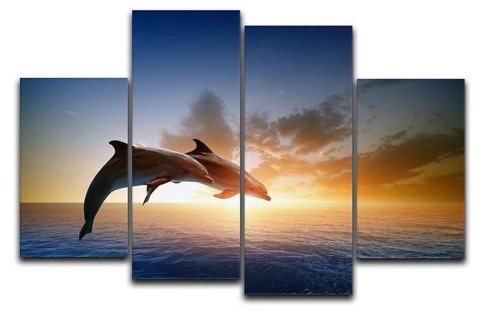 Couple jumping dolphins 4 Split Panel Canvas