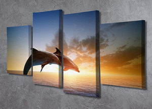 Couple jumping dolphins 4 Split Panel Canvas  - Canvas Art Rocks - 2