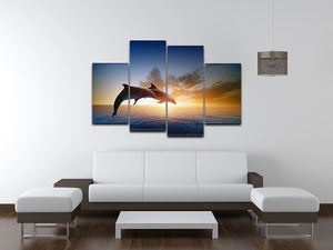 Couple jumping dolphins 4 Split Panel Canvas  - Canvas Art Rocks - 3