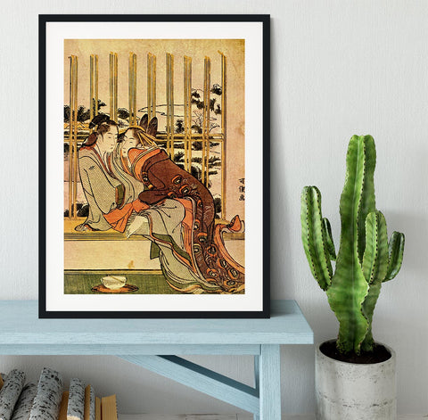 Couples by Hokusai Framed Print - Canvas Art Rocks - 1