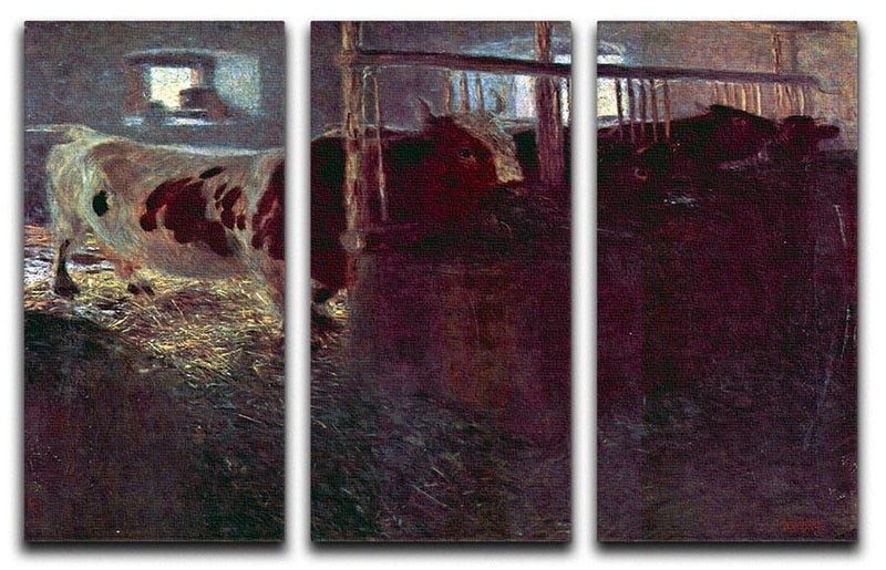 Cows in Stall by Klimt 3 Split Panel Canvas Print - Canvas Art Rocks - 1