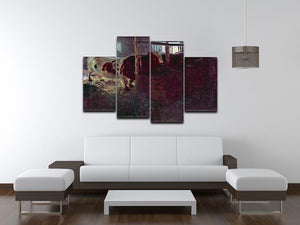 Cows in Stall by Klimt 4 Split Panel Canvas - Canvas Art Rocks - 3