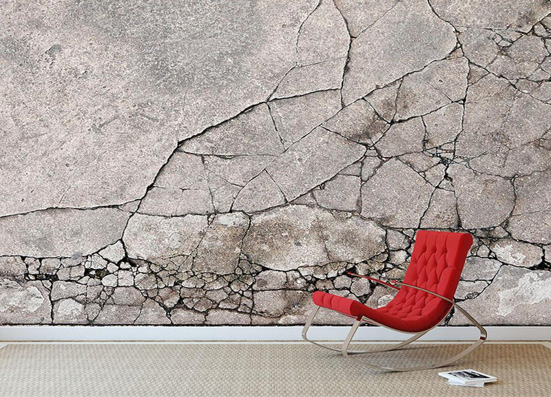 Cracked concrete Wall Mural Wallpaper - Canvas Art Rocks - 2