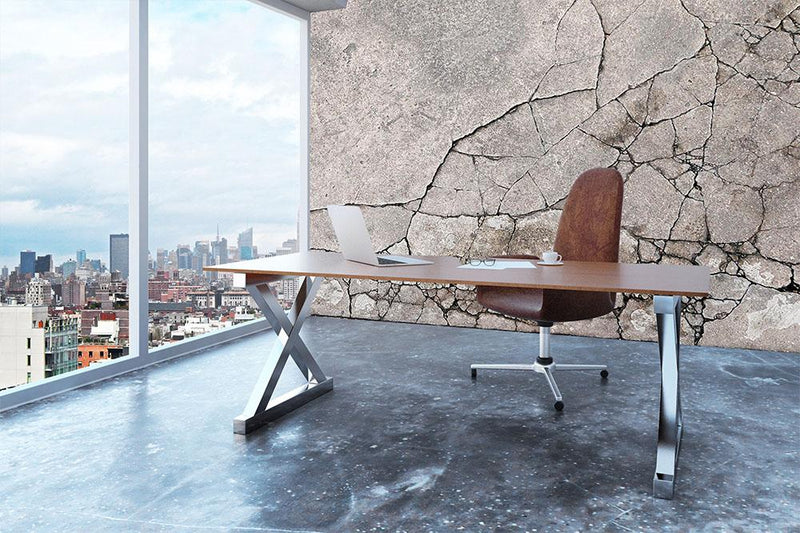 Cracked concrete Wall Mural Wallpaper - Canvas Art Rocks - 3
