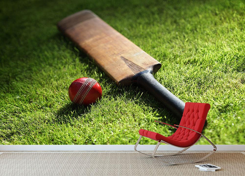 Cricket bat and ball on green grass Wall Mural Wallpaper - Canvas Art Rocks - 1