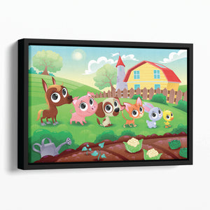 Cute Littest farm animals in the garden Floating Framed Canvas