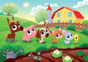 Cute Littest farm animals in the garden Wall Mural Wallpaper - Canvas Art Rocks - 1