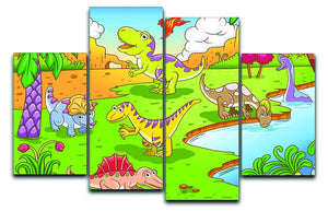 Cute dinosaurs in prehistoric scene 4 Split Panel Canvas  - Canvas Art Rocks - 1