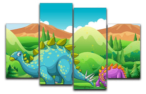 Cute dinosaurs walking 4 Split Panel Canvas  - Canvas Art Rocks - 1