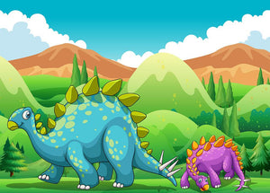 Cute dinosaurs walking Wall Mural Wallpaper - Canvas Art Rocks - 1