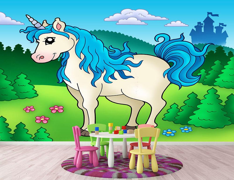Cute unicorn in forest Wall Mural Wallpaper - Canvas Art Rocks - 1