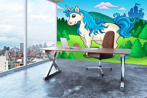 Cute unicorn in forest Wall Mural Wallpaper - Canvas Art Rocks - 3