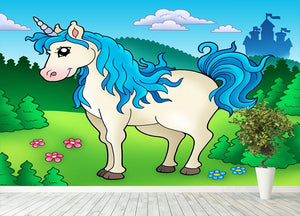 Cute unicorn in forest Wall Mural Wallpaper - Canvas Art Rocks - 4