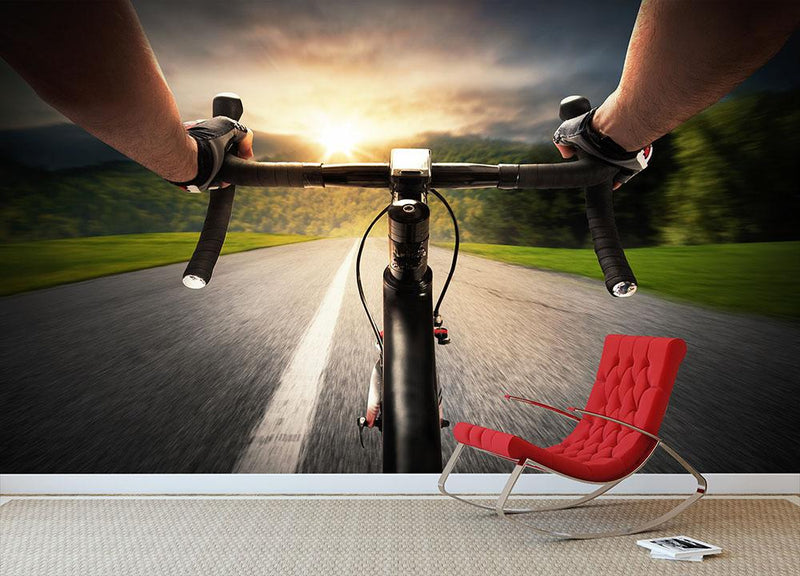 Cyclist pedaling Wall Mural Wallpaper - Canvas Art Rocks - 1