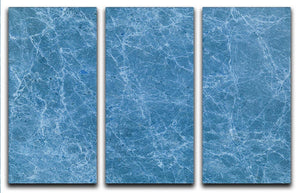 Dark Blue Marble 3 Split Panel Canvas Print - Canvas Art Rocks - 1
