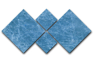Dark Blue Marble 4 Square Multi Panel Canvas - Canvas Art Rocks - 1