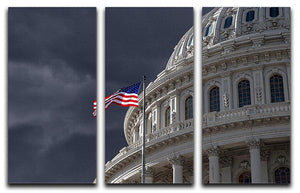 Dark sky over the US Capitol building 3 Split Panel Canvas Print - Canvas Art Rocks - 1