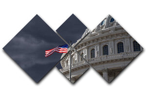Dark sky over the US Capitol building 4 Square Multi Panel Canvas  - Canvas Art Rocks - 1
