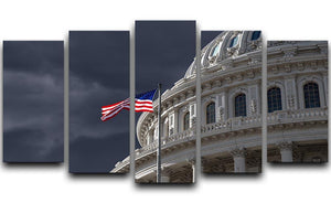 Dark sky over the US Capitol building 5 Split Panel Canvas  - Canvas Art Rocks - 1