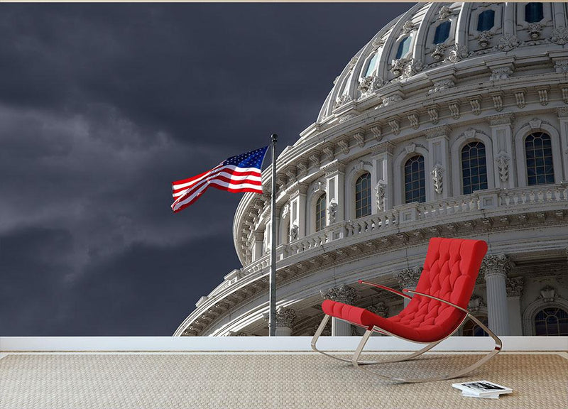 Dark sky over the US Capitol building Wall Mural Wallpaper - Canvas Art Rocks - 1