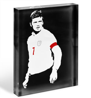 David Beckham Black And White Acrylic Block - Canvas Art Rocks - 1