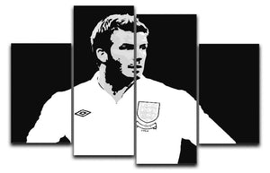 David Beckham Pop Art Black And White 4 Split Panel Canvas  - Canvas Art Rocks - 1