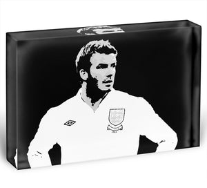 David Beckham Pop Art Black And White Acrylic Block - Canvas Art Rocks - 1