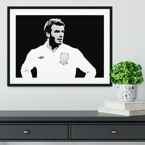 David Beckham Pop Art Black And White Framed Print - Canvas Art Rocks - 1