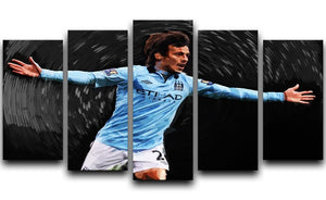 David Silva Manchester City 5 Split Panel Canvas  - Canvas Art Rocks - 1