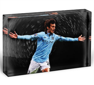 David Silva Manchester City Acrylic Block - Canvas Art Rocks - 1