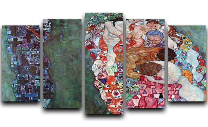 Death and Life by Klimt 5 Split Panel Canvas