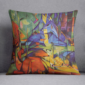 Deer in Forest by Franz Marc Cushion