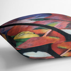Deer in the forest II by Franz Marc Cushion