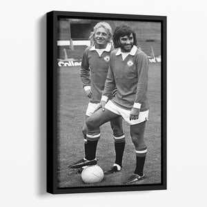 Denis Law and George Best in 1972 Floating Framed Canvas - Canvas Art Rocks - 1